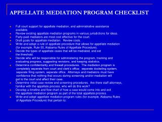 APPELLATE MEDIATION PROGRAM CHECKLIST
