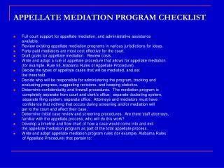 APPELLATE MEDIATION PROGRAM CHECKLIST