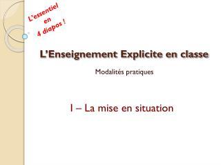 L'Enseignement Explicite en classe