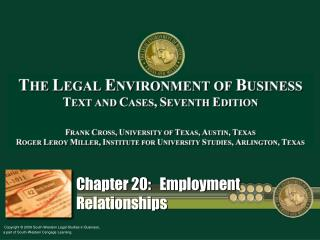 Chapter 20:   Employment Relationships