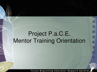 Project P.a.C.E.  Mentor Training Orientation