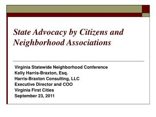 State Advocacy by Citizens and Neighborhood Associations