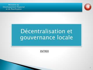Décentralisation et gouvernance locale