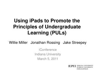 Using iPads to Promote the Principles of Undergraduate Learning (PULs)
