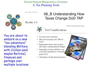 Personal Financial Management in a Transition  8. Tax Planning Tools