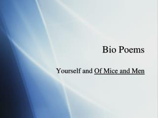 Bio Poems