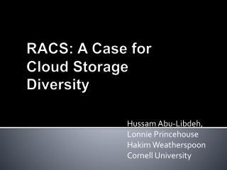RACS: A Case for Cloud Storage Diversity