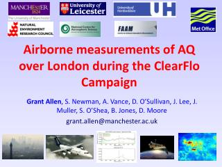 Airborne measurements of AQ over London during the ClearFlo Campaign