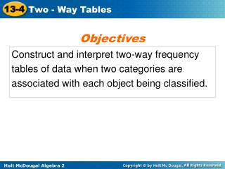 Construct and interpret two-way frequency tables of data when two categories are