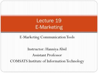 Lecture 19 E-Marketing