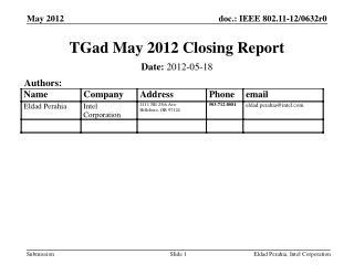 TGad  May 2012  Closing Report