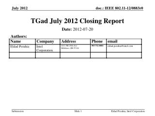 TGad July 2012 Closing Report