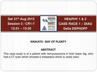 HEAPHY 1 & 2 CASE RACE 1 � DIAG Delia DEPHOFF