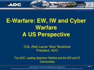 E-Warfare: EW, IW and Cyber Warfare A US Perspective