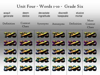 Unit Four - Words 1-10 -  Grade Six