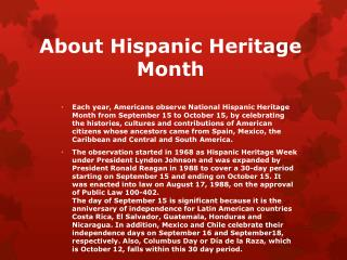 About Hispanic Heritage Month
