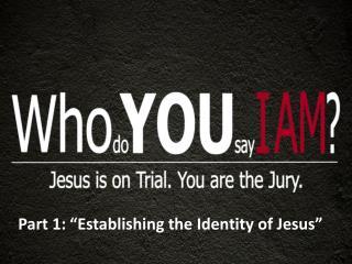 "Part 1: ""Establishing the Identity of Jesus"""