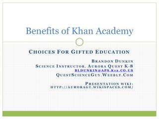 Benefits of Khan Academy
