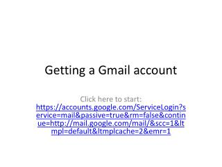 Getting a Gmail account