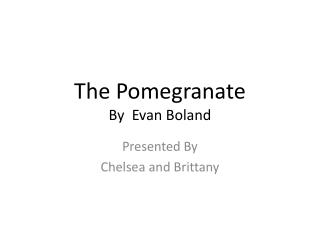 The Pomegranate  By  Evan Boland