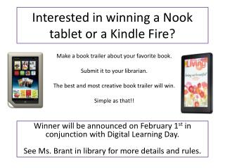 Interested in winning a Nook tablet or a Kindle Fire?