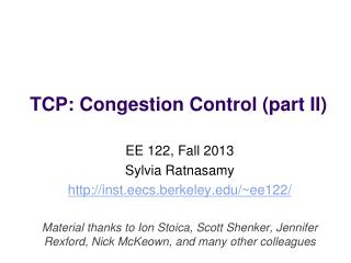 TCP: Congestion  Control (part II)