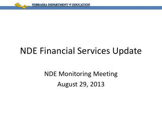 NDE Financial Services Update