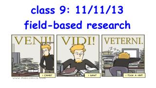 class 9: 11/11/13 field-based research