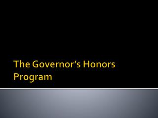 The Governor's Honors Program