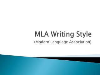MLA Writing Style