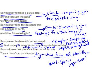Quoting poetry or song lyrics: ·Put a slash mark & space between lines of the poem/song.
