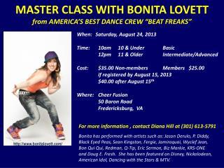 "MASTER CLASS WITH BONITA LOVETT from AMERICA'S BEST DANCE CREW ""BEAT FREAKS"""