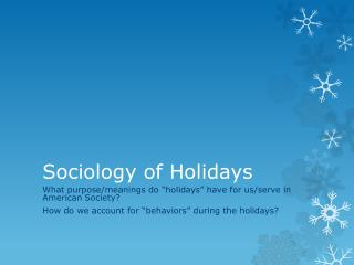 Sociology of Holidays