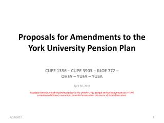 Proposals for Amendments to the York University Pension Plan