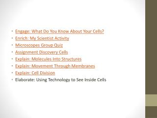 Engage: What Do You Know About Your Cells ? Enrich: My Scientist  Activity Microscopes Group  Quiz