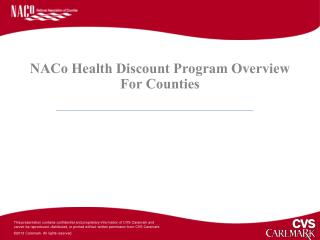 NACo Health Discount Program Overview For Counties