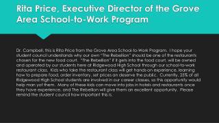Rita Price, Executive Director of the Grove Area School-to-Work Program