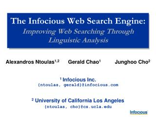 The Infocious Web Search Engine: Improving Web Searching Through Linguistic Analysis