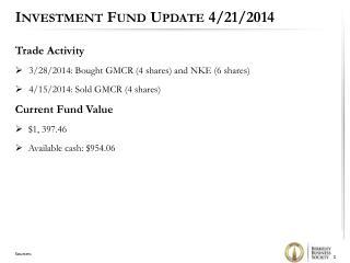 Investment Fund Update 4/21/2014