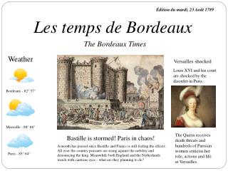 Les temps de Bordeaux
