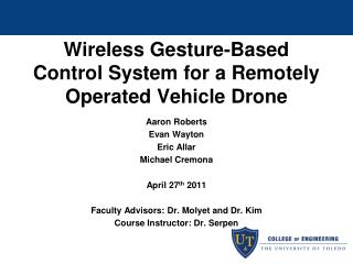 Wireless Gesture-Based Control System for a Remotely Operated Vehicle Drone
