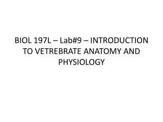 BIOL 197L – Lab#9 – INTRODUCTION TO VETREBRATE ANATOMY AND PHYSIOLOGY