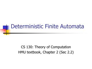 Deterministic Finite Automata