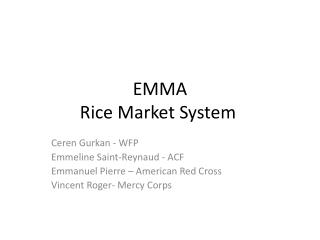 EMMA Rice Market System