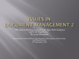 Issues in  Document Management 2