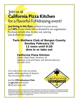 Twin Mothers Club of Bergen County Sunday February 10 12 noon until 9:30 dine in or take out