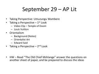 September 29 – AP Lit
