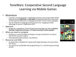 ToneWars : Cooperative Second Language Learning via Mobile Games