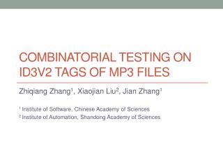 Combinatorial  Testing  on ID3v2  Tags of MP3 Files