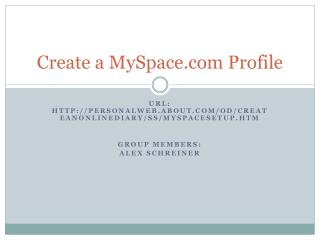 Create a MySpace.com Profile